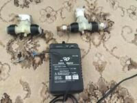 "TWO 12V solenoid valves 1/2"" inc PSU"