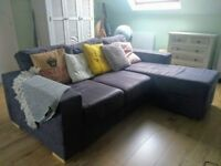 L Shaped Grey Corner Sofa | Nabru 4 Seater | Flexi Layout, Modular Design - can fit in Fiat Punto!