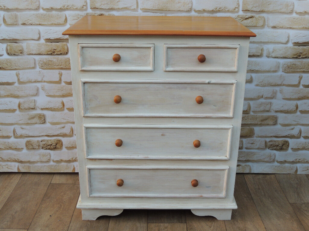 Farmhouse White Shabby chic Chest of Drawers Heavy duty (Delivery)