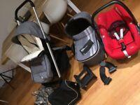 Full travel system stroller carry cot car seat rain covers cosey toes pram grey black must ser