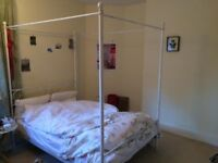 White Four Poster Double Bed (optional with John Lewis mattress)