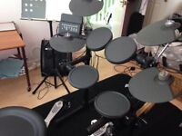 Yamaha drum kit plus extra pedal, amplifier, stool and mat