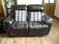 TWO 2 SEATER BLACK LEATHER RECLINING SOFAS