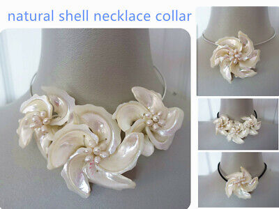 """New Fashion Natural Mother of pearl Shell Flower Pendant Necklace or Collar 18"""""""