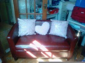 2 seater leather tub sofa