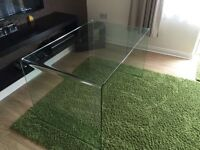 Large Clear Glass Desk