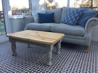 Solid pine coffee table with stripped top, painted base