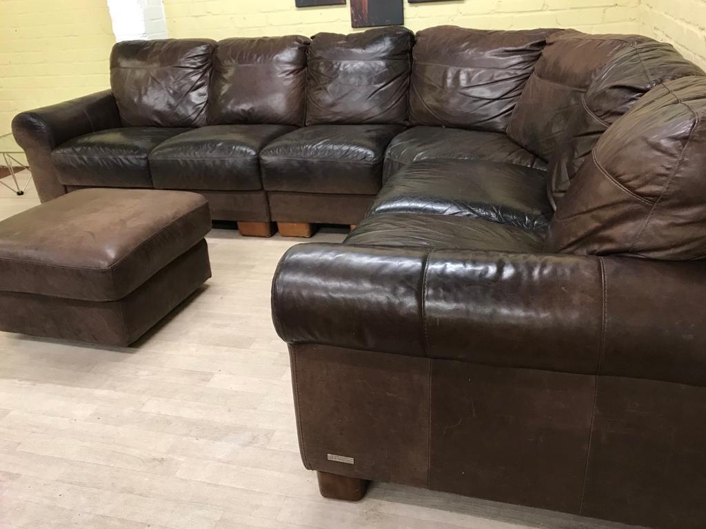 Large Rustic Sofitalia Leather Corner Sofa