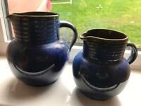 Pair of Denby Electric Blue Swiss jugs