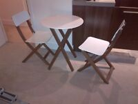 elegant John Lewis metal and hardwood folding table and chairs pristine condition can deliver