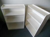 White Painted Bookshelves, Display Shelves, DVD Shelves - £15 each