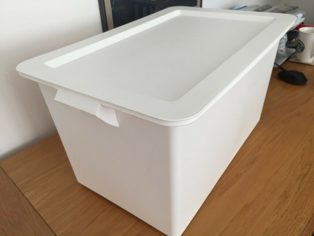 Ikea Slugis White Plastic Storage Box With Lid 53 X 35 30 Cm 2 Available In Addlestone Surrey Gumtree
