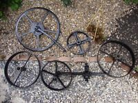 Cast Iron Wheel Set,From Horse Drawn Plough.(Genuine Vintage).