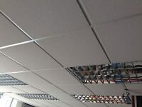 Complete drop ceiling with tiles and lights