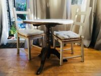 Dining table, solid wood, shabby chic, two chairs