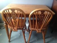 Pine table and 2 chairs