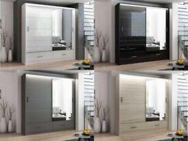 Marsylia 2 and 3 sliding mirror doors wardrobe in 208 and 255cm size