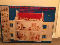 Wooden Dolls House with Sylvanian Families and furniture