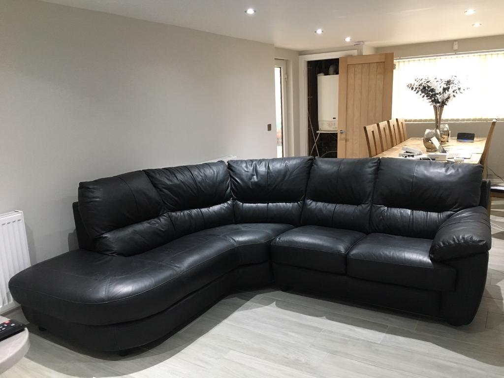 Dfs Genuine Leather Corner Sofa In Swindon Wiltshire