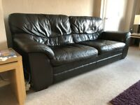 Brown Leather three and two seater sofas