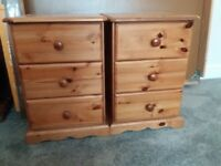 2 pine bed side tables. 60H x 40 x 43 cm.