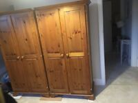MATCHING DOUBLE PINE WARDROBES IN VERY GOOD USED CONDITION FREE LOCAL DELIVERY AVAILABLE 07486933766