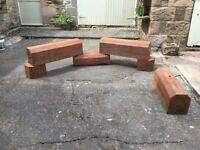 Log seating benches pitch pine