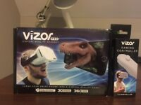 Vizor virtual reality headset with controller