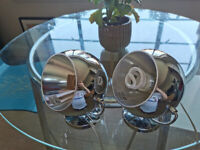 Two matching identical chrome lamps