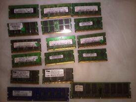 laptop ram ddr2 ddr3 2gb £7 each 4 gb £15 each
