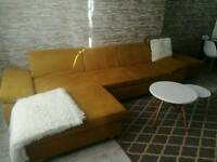Large corner sofa bed + fouffe + free rug 230x160