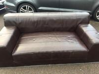 3 Seater IKEA Brown Leather Sofa