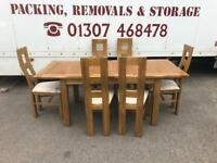 Solid oak extending dining table & chairs * free furniture delivery *