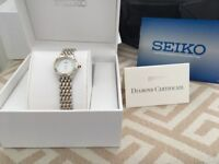 Ladies Seiko Watch Silver and Gold with Diamonds