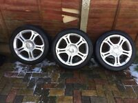 "RACING 17""INCH ALLOY VERY GOOD TYRES WHEELS FOR SEAT BMW MERCEDES FITS GERMAN 5 STUD SET OF 3 CHEAP"