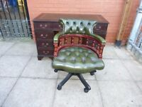 Dark Mahogany Green Leather Inlay Twin Pedestal Desk And A Captains Chair