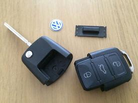 VW-SEAT-SKODA 1J0 959 753 DA/1J0 959 753 AH 3 BUTTON REMOTE KEY CUT & PROGRAMMED