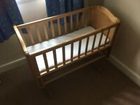 Oak mothercare rock & glide crib