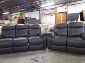 2 Piece 100% Real Leather Luxury Suite Choclate Brown Static 3+2 Sofas Brand New