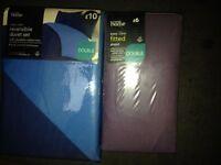 Reversable Double Duvet Set (Dark/Light Blue) & Double Fitte
