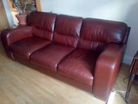 3 Seat brown leather sofa for sale £140.00 ono