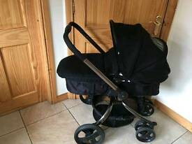 Mothercare spin pram & pushchair - special edition black jacquad