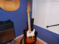 fender telecaster and amp and stand