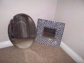 "Square mosaic mirror 14"" & oval mirror 17.5"" for bathroom, bedroom, kid's room."