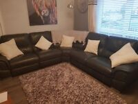 Genuine Leather electric reclining corner sofa with chair