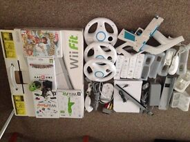 nintendo wii console + wii fit board + accessories