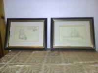 2 black and white framed winnie the pooh prints