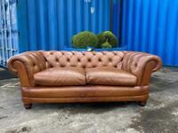 Beautiful Chesterfield Tetrad Tan Leather large 2 Seater Sofa