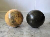 X 2 Old Rare Vintage Antique Snooker / Billiard Balls - Cue Ball & Black Or Green