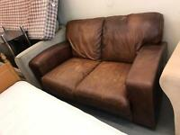 2 seater tan leather sofa